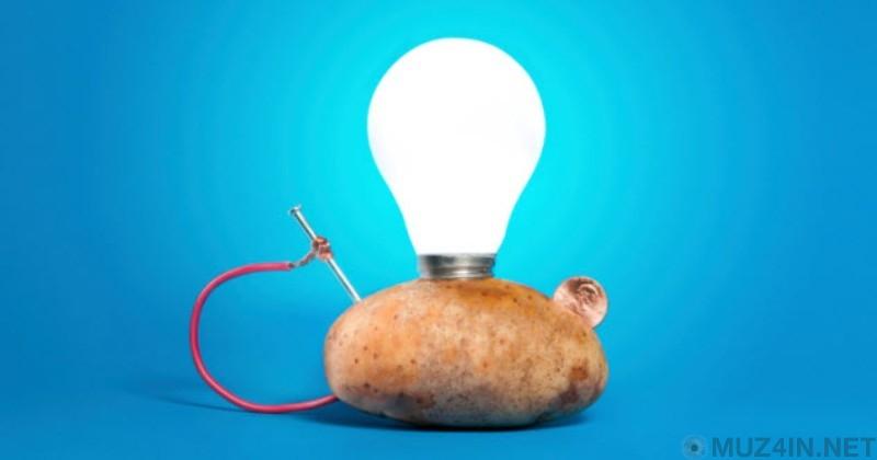 Ilustrasi lampu LED nyala dengan kentang