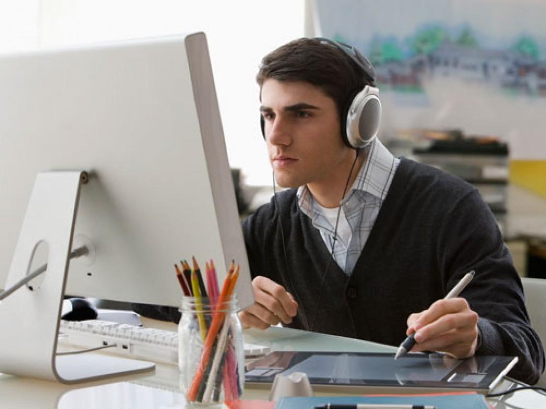 illustrasi kerja sambil mendengarkan musik